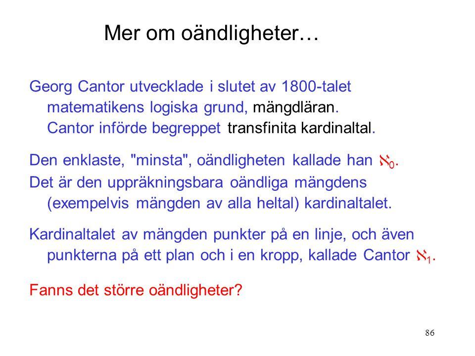86 Georg Cantor utvecklade i slutet av 1800-talet matematikens logiska grund, mängdläran.
