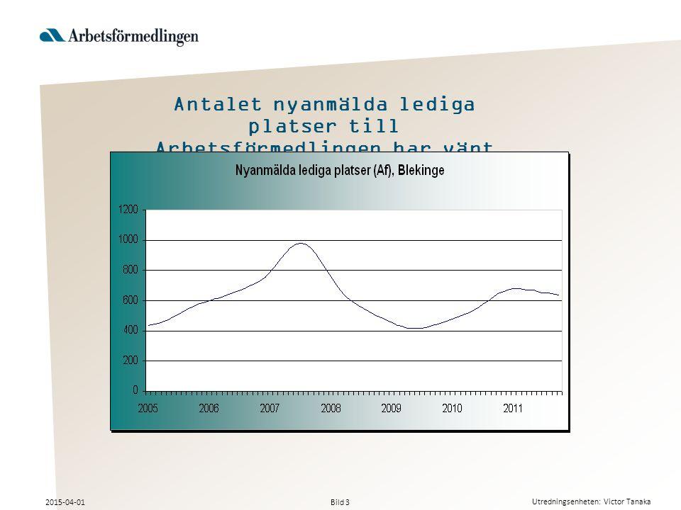 Bild 3 2015-04-01 Utredningsenheten: Victor Tanaka Antalet nyanmälda lediga platser till Arbetsförmedlingen har vänt nedåt