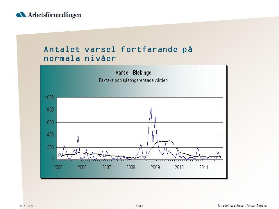 Bild 4 2015-04-01 Utredningsenheten: Victor Tanaka Antalet varsel fortfarande på normala nivåer