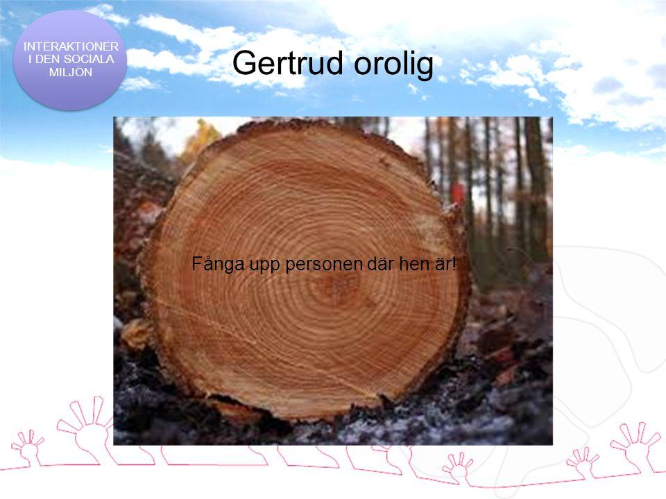 Gertrud orolig INTERAKTIONER I DEN SOCIALA MILJÖN Fånga upp personen där hen är!