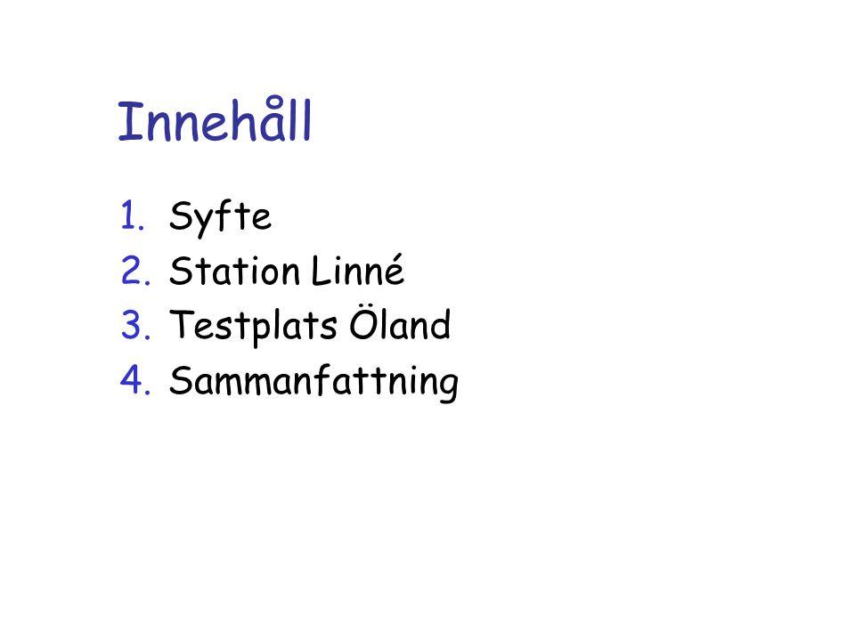Innehåll 1.Syfte 2.Station Linné 3.Testplats Öland 4.Sammanfattning