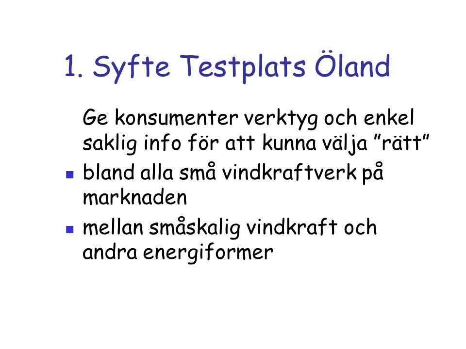 """1. Syfte Testplats Öland Ge konsumenter verktyg och enkel saklig info för att kunna välja """"rätt"""" bland alla små vindkraftverk på marknaden mellan smås"""