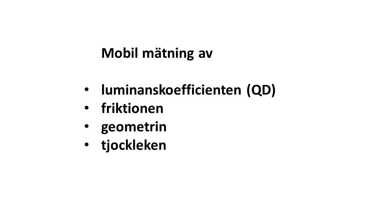 Mobil mätning av luminanskoefficienten (QD) friktionen geometrin tjockleken