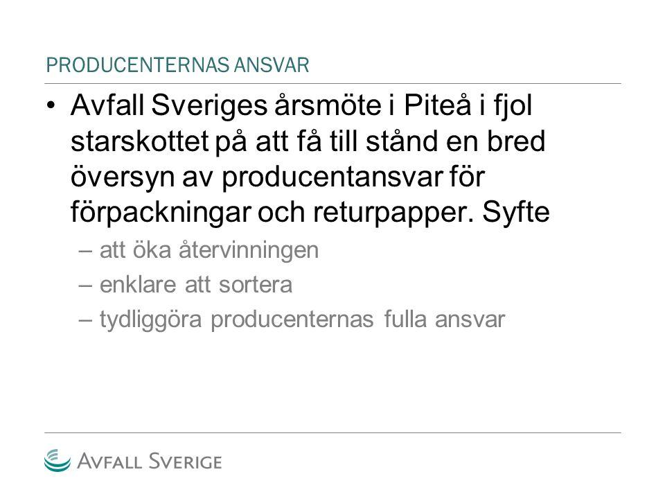 PRODUCENTERNAS ANSVAR Avfall Sveriges årsmöte i Piteå i fjol starskottet på att få till stånd en bred översyn av producentansvar för förpackningar och returpapper.
