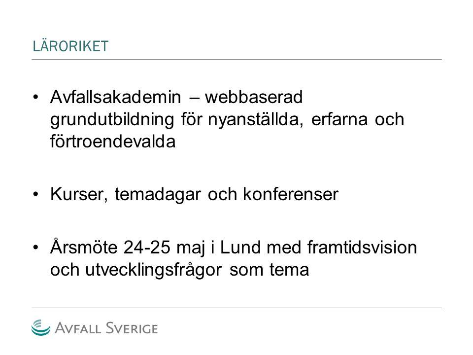 LÄRORIKET Avfallsakademin – webbaserad grundutbildning för nyanställda, erfarna och förtroendevalda Kurser, temadagar och konferenser Årsmöte 24-25 maj i Lund med framtidsvision och utvecklingsfrågor som tema