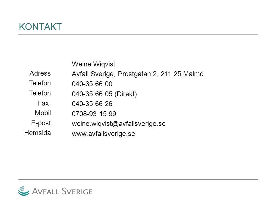 KONTAKT Adress Telefon Fax Mobil E-post Hemsida Weine Wiqvist Avfall Sverige, Prostgatan 2, 211 25 Malmö 040-35 66 00 040-35 66 05 (Direkt) 040-35 66 26 0708-93 15 99 weine.wiqvist@avfallsverige.se www.avfallsverige.se