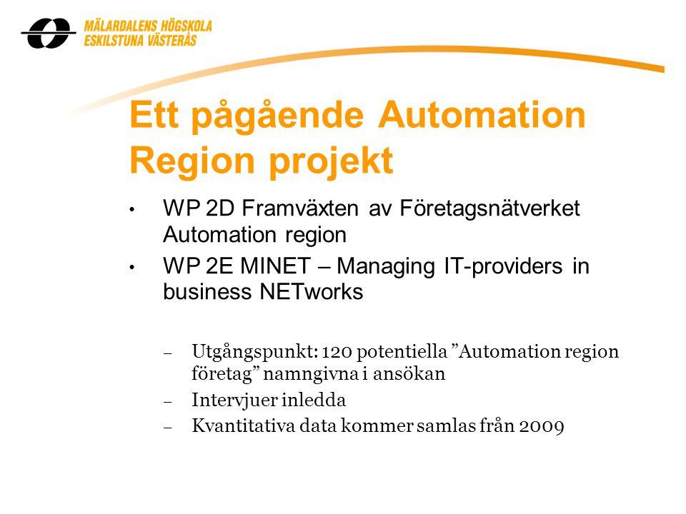 Ett pågående Automation Region projekt WP 2D Framväxten av Företagsnätverket Automation region WP 2E MINET – Managing IT-providers in business NETworks – Utgångspunkt: 120 potentiella Automation region företag namngivna i ansökan – Intervjuer inledda – Kvantitativa data kommer samlas från 2009