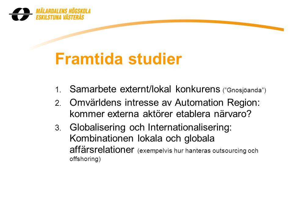 Framtida studier 1. Samarbete externt/lokal konkurens ( Gnosjöanda ) 2.