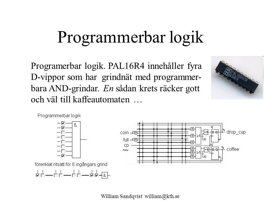 William Sandqvist william@kth.se Programmerbar logik Programerbar logik. PAL16R4 innehåller fyra D-vippor som har grindnät med programmer- bara AND-gr
