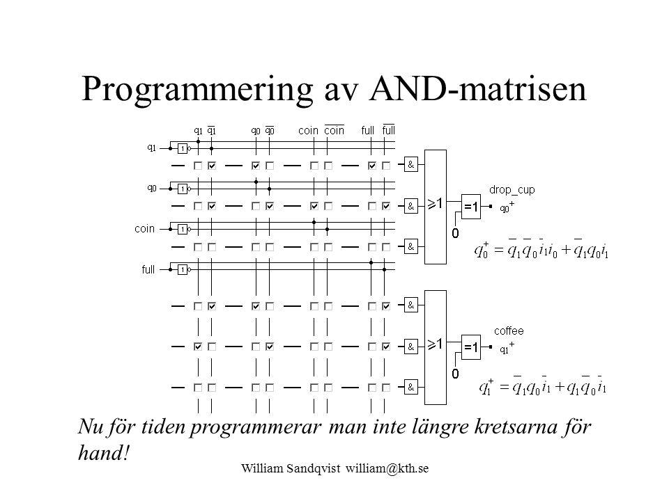 William Sandqvist william@kth.se Programmering av AND-matrisen Nu för tiden programmerar man inte längre kretsarna för hand!