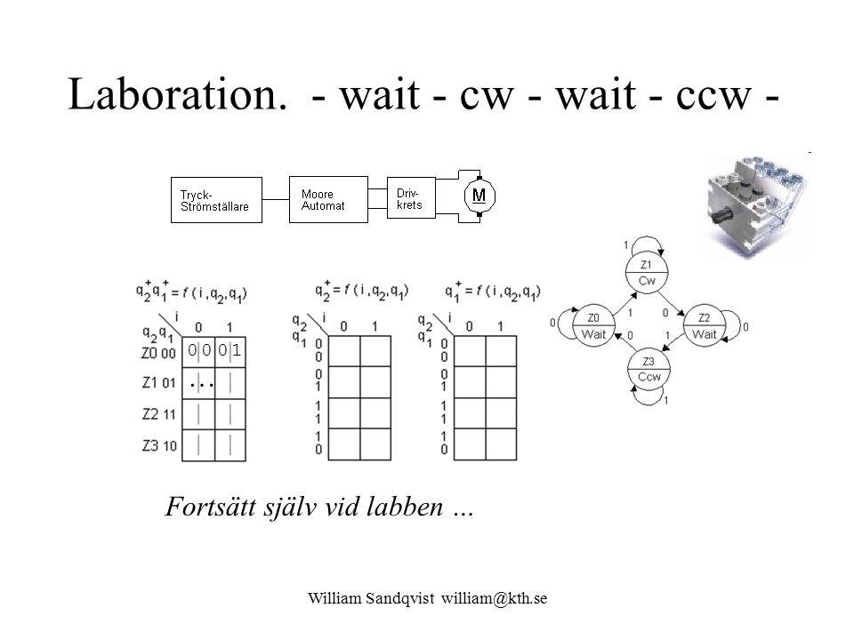 William Sandqvist william@kth.se Laboration. - wait - cw - wait - ccw - 00 01 … Fortsätt själv vid labben …