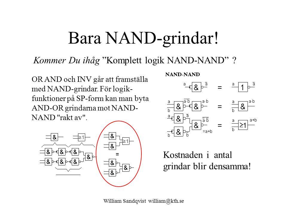 William Sandqvist william@kth.se Bara NAND-grindar! OR AND och INV går att framställa med NAND-grindar. För logik- funktioner på SP-form kan man byta