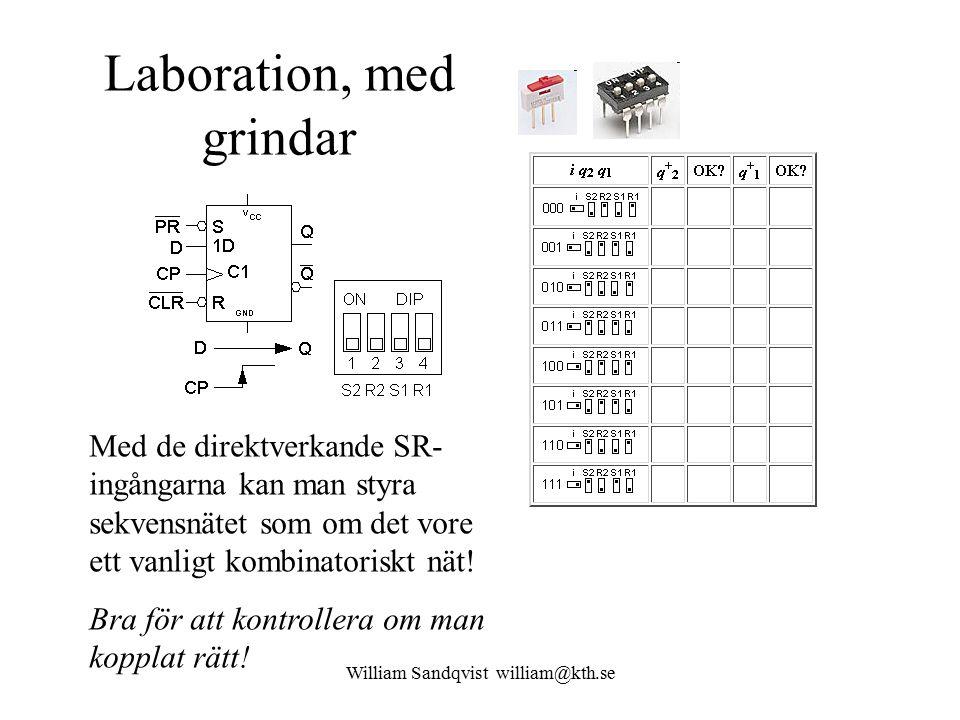 William Sandqvist william@kth.se Laboration, med grindar Med de direktverkande SR- ingångarna kan man styra sekvensnätet som om det vore ett vanligt k