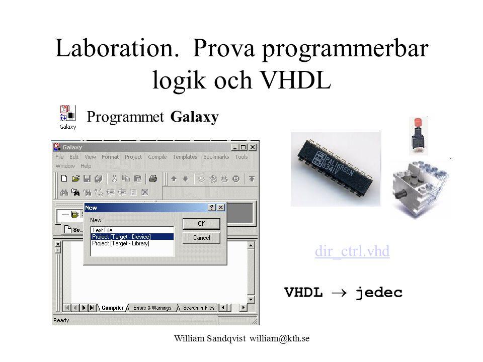Laboration. Prova programmerbar logik och VHDL Programmet Galaxy dir_ctrl.vhd VHDL  jedec