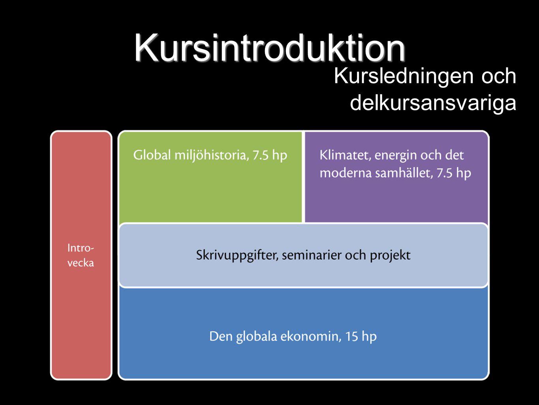 Kursintroduktion Kursledningen och delkursansvariga