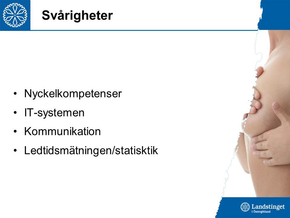 Svårigheter Nyckelkompetenser IT-systemen Kommunikation Ledtidsmätningen/statisktik