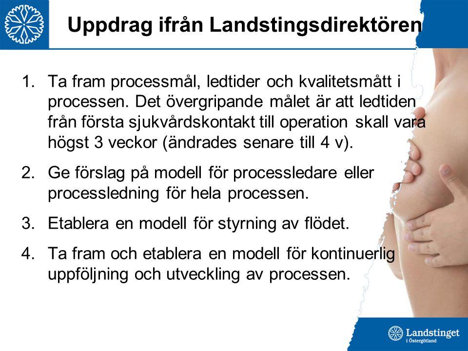 Uppdrag ifrån Landstingsdirektören 1.Ta fram processmål, ledtider och kvalitetsmått i processen. Det övergripande målet är att ledtiden från första sj