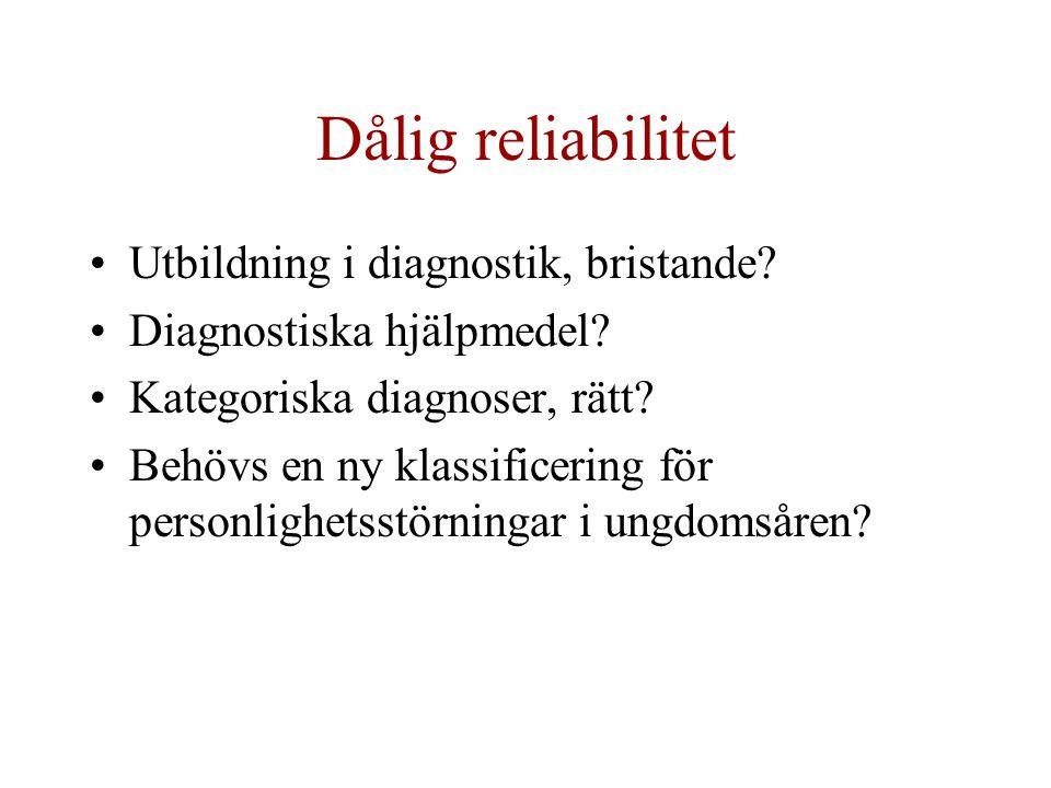 Dålig reliabilitet Utbildning i diagnostik, bristande? Diagnostiska hjälpmedel? Kategoriska diagnoser, rätt? Behövs en ny klassificering för personlig