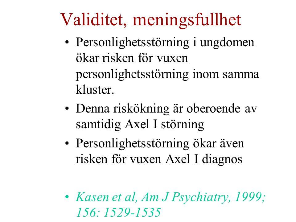 Validitet, meningsfullhet Personlighetsstörning i ungdomen ökar risken för vuxen personlighetsstörning inom samma kluster. Denna riskökning är oberoen