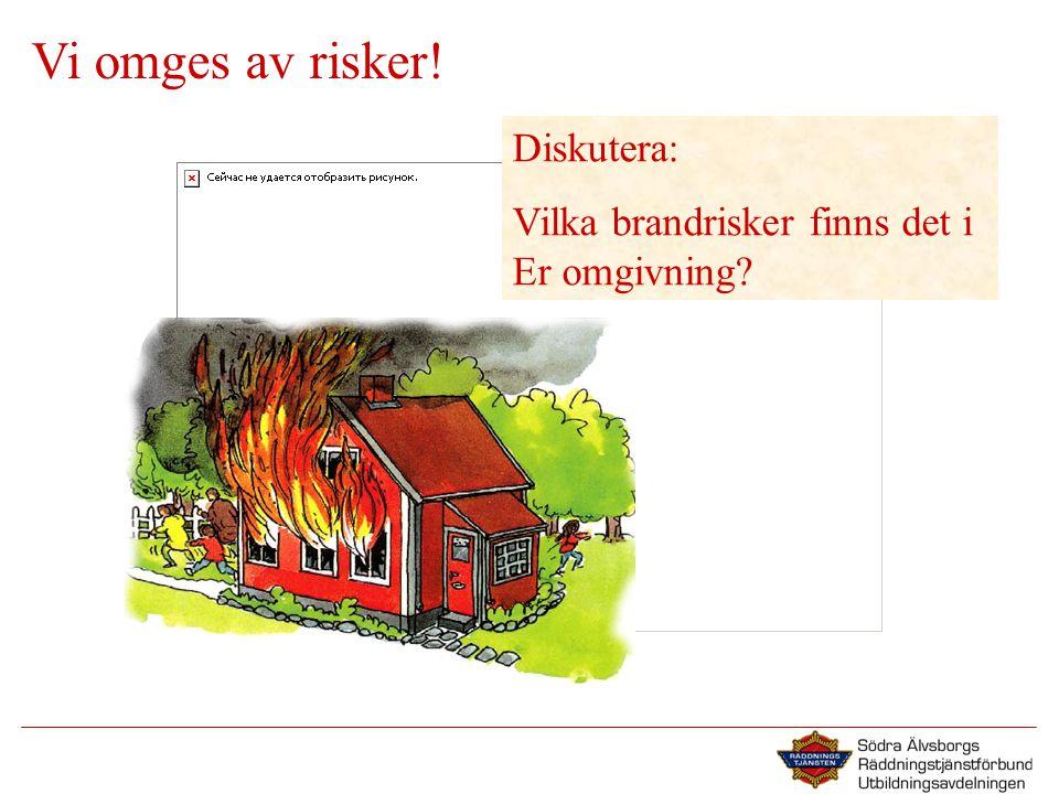 Vi omges av risker! Diskutera: Vilka brandrisker finns det i Er omgivning?