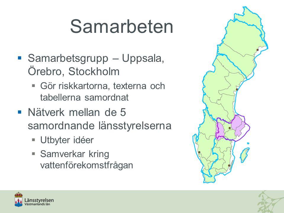 Samarbeten  Samarbetsgrupp – Uppsala, Örebro, Stockholm  Gör riskkartorna, texterna och tabellerna samordnat  Nätverk mellan de 5 samordnande länsstyrelserna  Utbyter idéer  Samverkar kring vattenförekomstfrågan