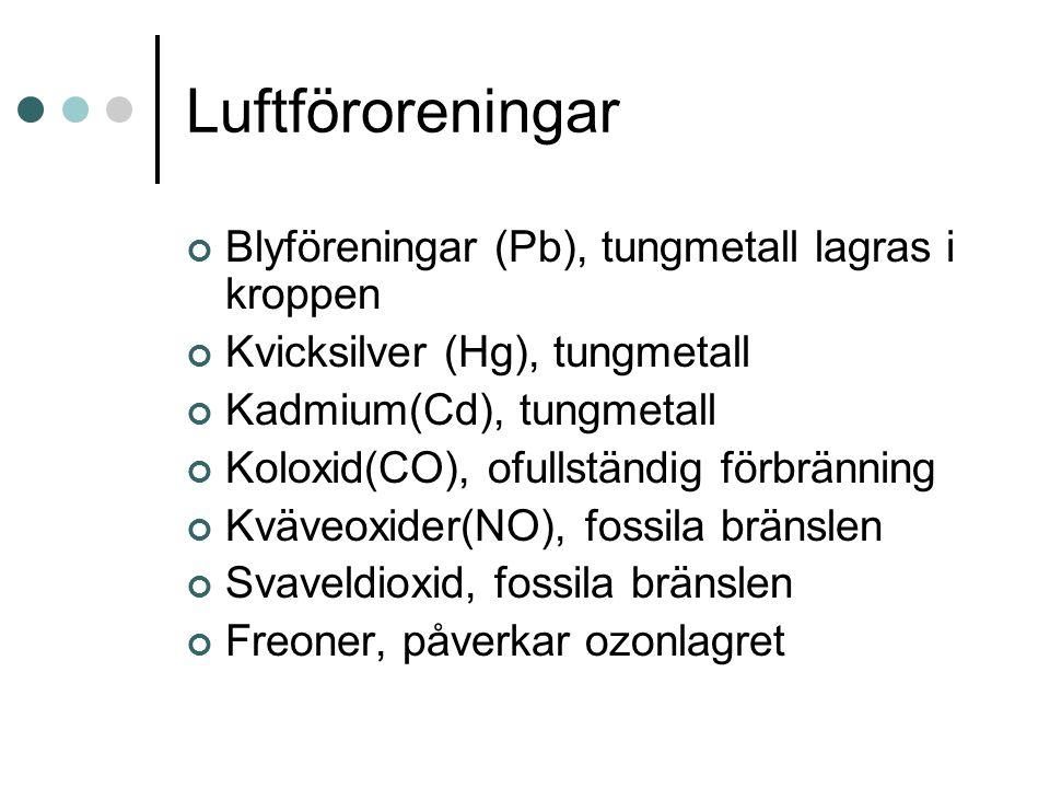 Luftföroreningar Blyföreningar (Pb), tungmetall lagras i kroppen Kvicksilver (Hg), tungmetall Kadmium(Cd), tungmetall Koloxid(CO), ofullständig förbränning Kväveoxider(NO), fossila bränslen Svaveldioxid, fossila bränslen Freoner, påverkar ozonlagret