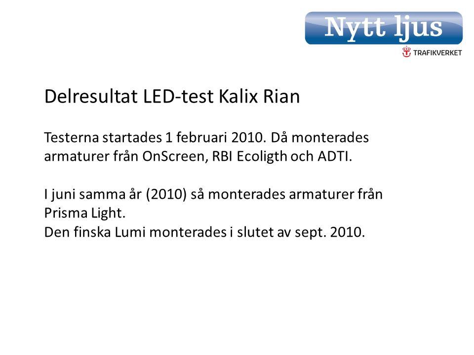 Delresultat LED-test Kalix Rian Testerna startades 1 februari 2010.