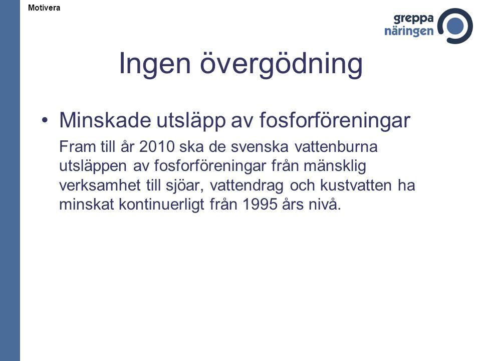 Ingen övergödning Minskade utsläpp av fosforföreningar Fram till år 2010 ska de svenska vattenburna utsläppen av fosforföreningar från mänsklig verksa