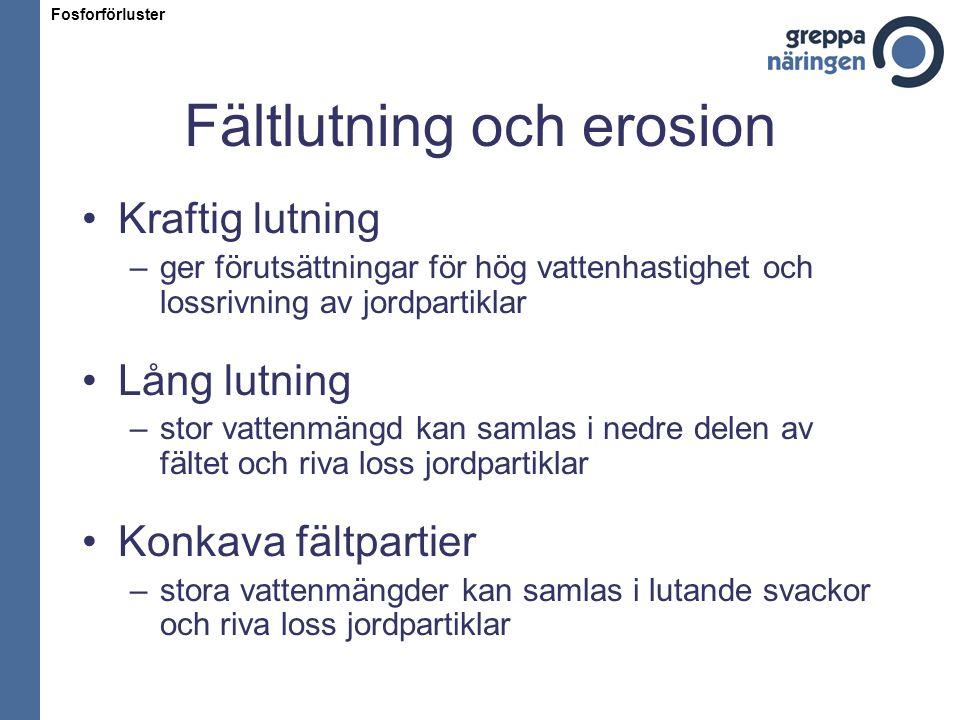 Fältlutning och erosion Kraftig lutning –ger förutsättningar för hög vattenhastighet och lossrivning av jordpartiklar Lång lutning –stor vattenmängd k