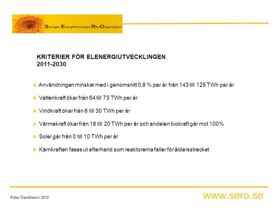 www.sero.se Peter Danielsson 2012 KRITERIER FÖR ELENERGIUTVECKLINGEN 2011-2030 Användningen minskar med i genomsnitt 0,8 % per år från 143 till 125 TWh per år Vattenkraft ökar från 64 till 73 TWh per år Vindkraft ökar från 6 till 30 TWh per år Värmekraft ökar från 18 till 20 TWh per år och andelen biokraft går mot 100% Solel går från 0 till 10 TWh per år Kärnkraften fasas ut efterhand som reaktorerna faller för åldersstrecket