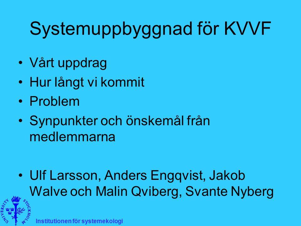 Systemuppbyggnad för KVVF Vårt uppdrag Hur långt vi kommit Problem Synpunkter och önskemål från medlemmarna Ulf Larsson, Anders Engqvist, Jakob Walve