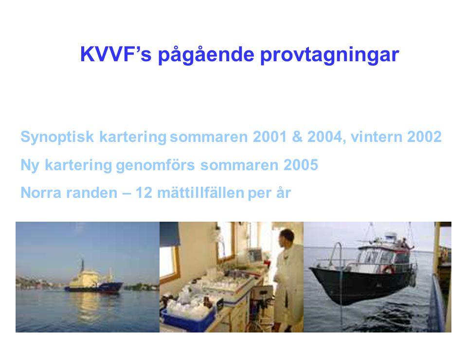 KVVF's pågående provtagningar Synoptisk kartering sommaren 2001 & 2004, vintern 2002 Ny kartering genomförs sommaren 2005 Norra randen – 12 mättillfäl