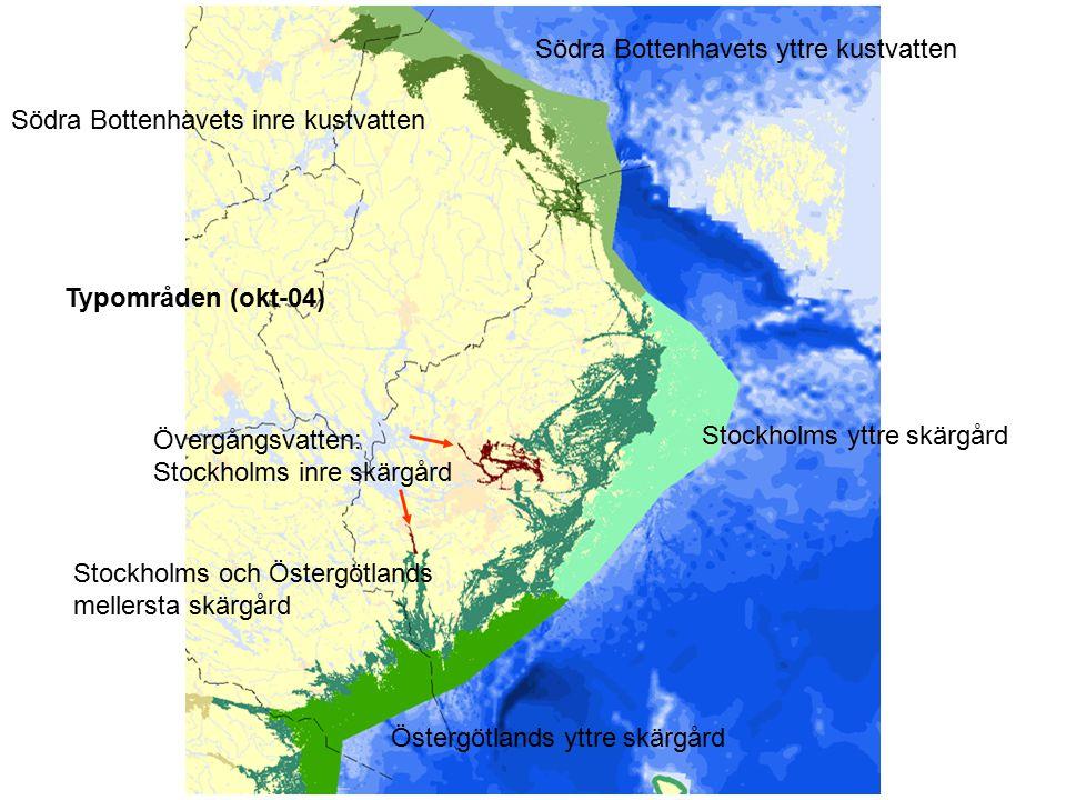 Typområden (okt-04) Södra Bottenhavets inre kustvatten Södra Bottenhavets yttre kustvatten Stockholms yttre skärgård Östergötlands yttre skärgård Stoc