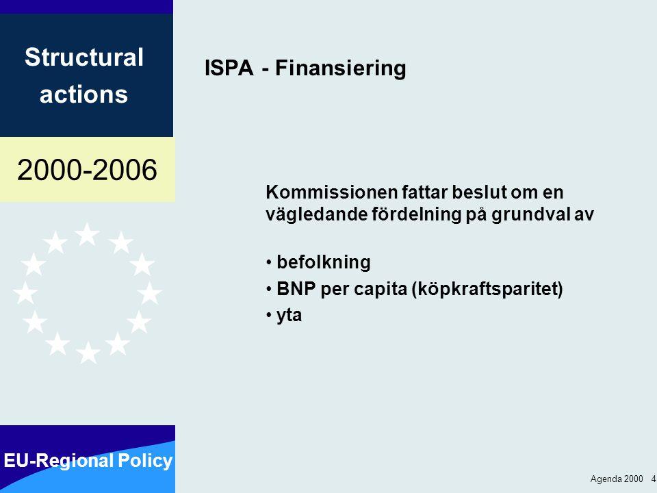 2000-2006 EU-Regional Policy Structural actions Agenda 2000 4 ISPA - Finansiering Kommissionen fattar beslut om en vägledande fördelning på grundval av befolkning BNP per capita (köpkraftsparitet) yta