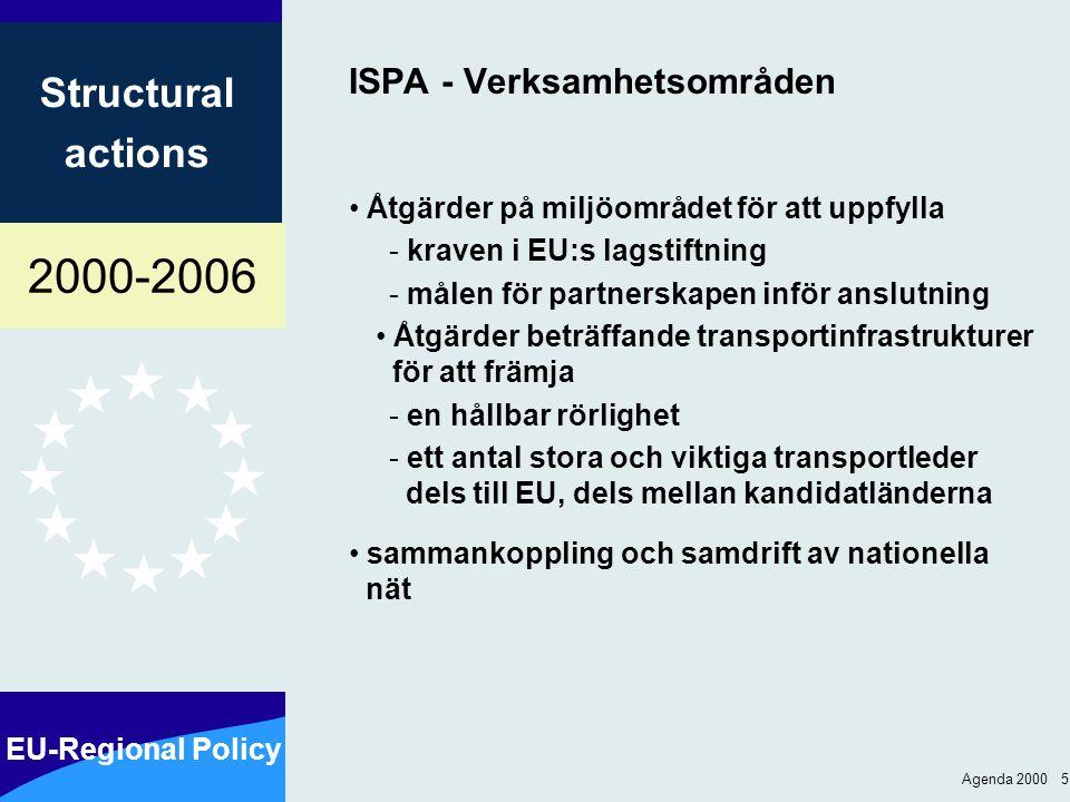 2000-2006 EU-Regional Policy Structural actions Agenda 2000 5 ISPA - Verksamhetsområden Åtgärder på miljöområdet för att uppfylla - kraven i EU:s lagstiftning - målen för partnerskapen inför anslutning Åtgärder beträffande transportinfrastrukturer för att främja - en hållbar rörlighet - ett antal stora och viktiga transportleder dels till EU, dels mellan kandidatländerna sammankoppling och samdrift av nationella nät