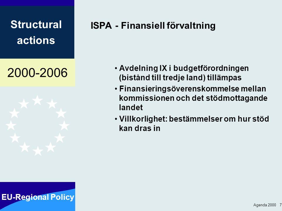 2000-2006 EU-Regional Policy Structural actions Agenda 2000 7 ISPA - Finansiell förvaltning Avdelning IX i budgetförordningen (bistånd till tredje land) tillämpas Finansieringsöverenskommelse mellan kommissionen och det stödmottagande landet Villkorlighet: bestämmelser om hur stöd kan dras in