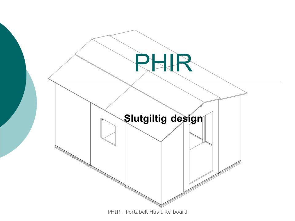 PHIR - Portabelt Hus I Re-board Sammanfattning  Projektets mål  Designparametrar  Verktyg  Slutgiltig design  Utmaningar  Resultat  Framtiden  Frågor