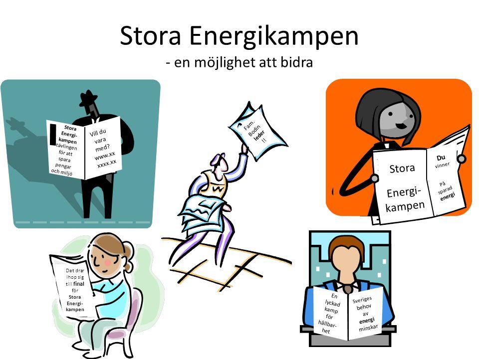 Stora Energikampen - en möjlighet att bidra Stora Energi- kampen tävlingen för att spara pengar och miljö Vill du vara med.