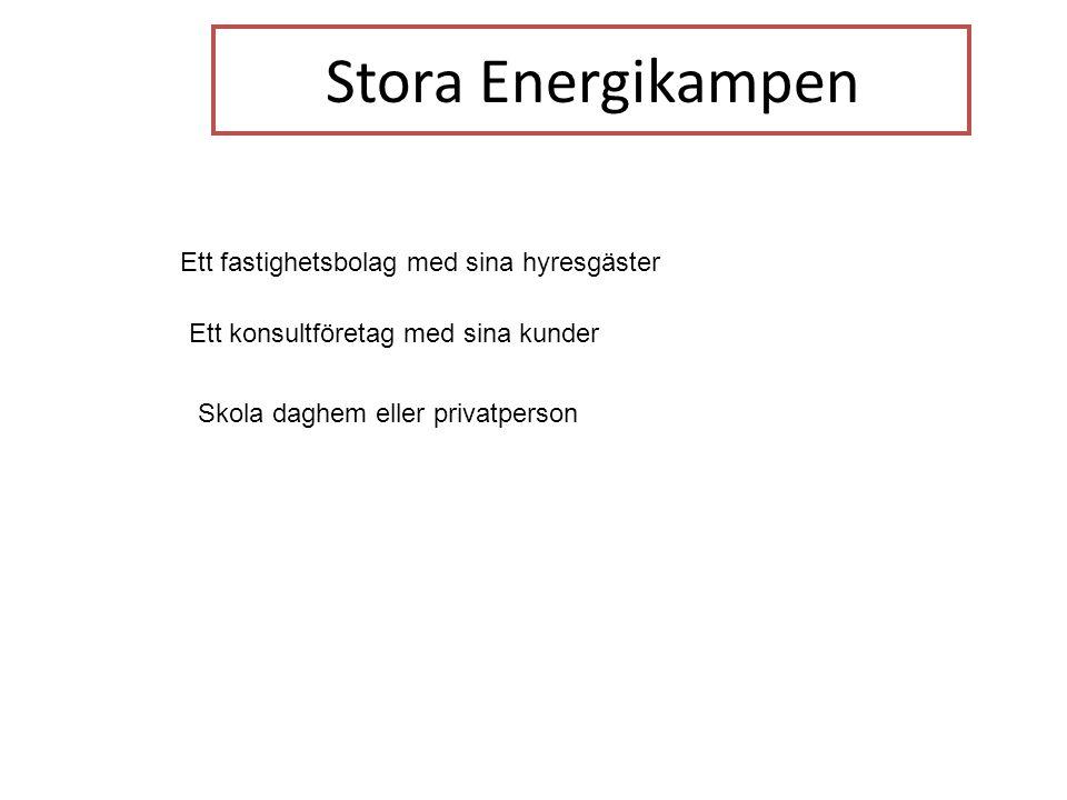 Stora Energikampen Ett fastighetsbolag med sina hyresgäster Ett konsultföretag med sina kunder Skola daghem eller privatperson