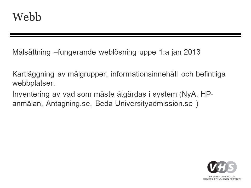 Webb Målsättning –fungerande weblösning uppe 1:a jan 2013 Kartläggning av målgrupper, informationsinnehåll och befintliga webbplatser.