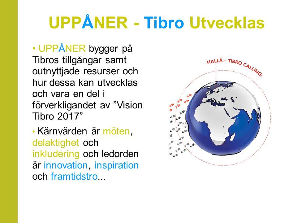 UPPÅNER bygger på Tibros tillgångar samt outnyttjade resurser och hur dessa kan utvecklas och vara en del i förverkligandet av Vision Tibro 2017 Kärnvärden är möten, delaktighet och inkludering och ledorden är innovation, inspiration och framtidstro...