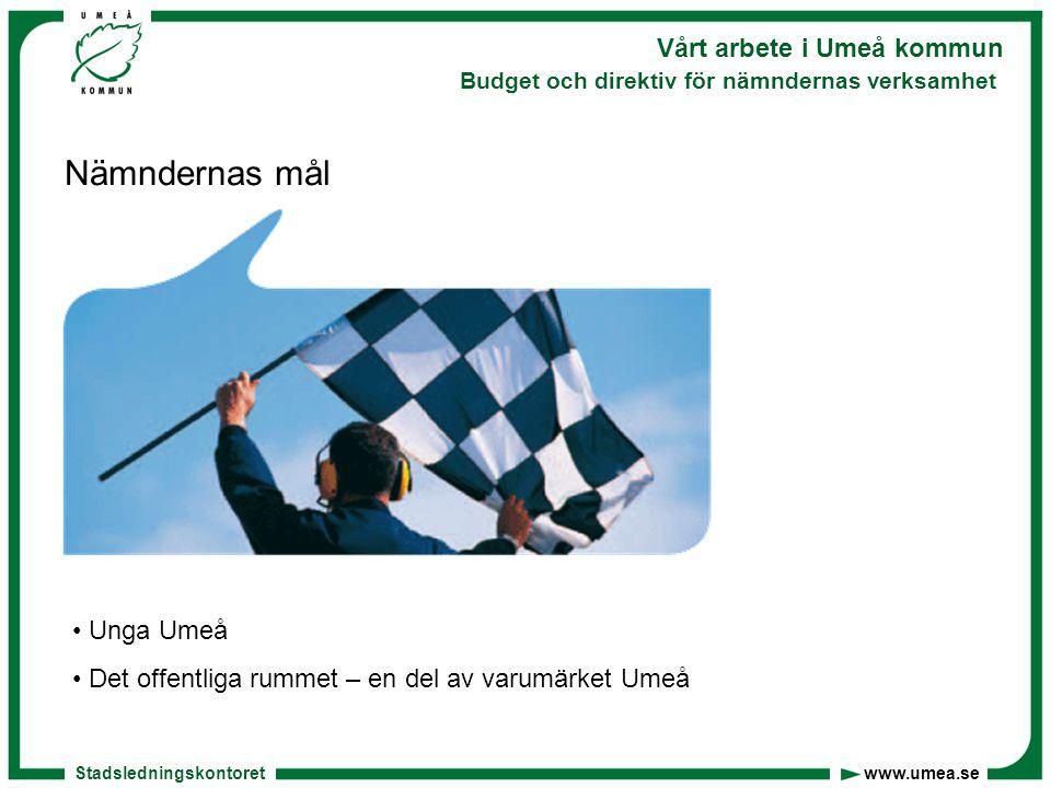 Stadsledningskontoret www.umea.se Vårt arbete i Umeå kommun Budget och direktiv för nämndernas verksamhet Nämndernas mål Unga Umeå Det offentliga rummet – en del av varumärket Umeå