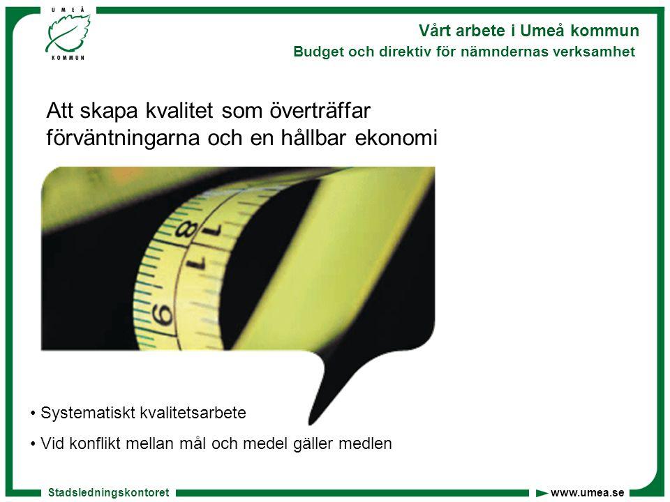 Stadsledningskontoret www.umea.se Vårt arbete i Umeå kommun Budget och direktiv för nämndernas verksamhet Vår personalpolitik Attraktiv arbetsgivare Friska arbetsplatser Aktivt ledarskap