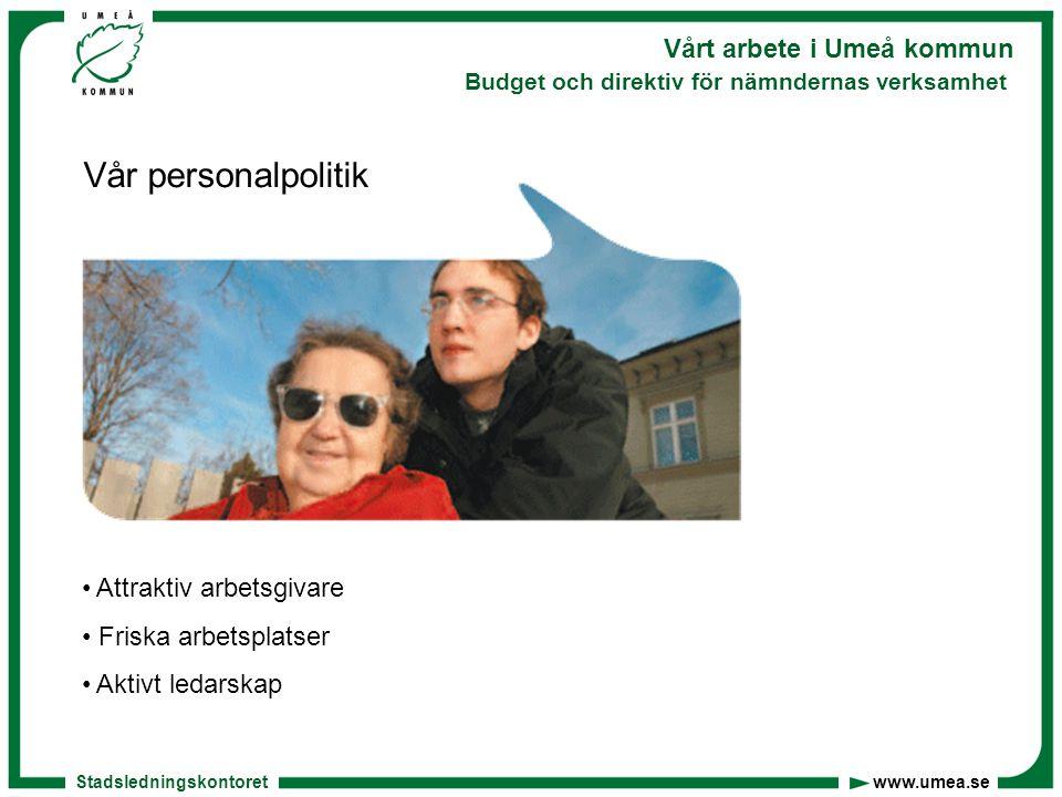 Stadsledningskontoret www.umea.se Vårt arbete i Umeå kommun Budget och direktiv för nämndernas verksamhet Nya satsningar På bland annat: Socialtjänsten, gymnasieskolan, för- och grundskolan, arbetsmarknad, fritidsförvaltningen, näringslivssatsningar, kulturhuvudstad