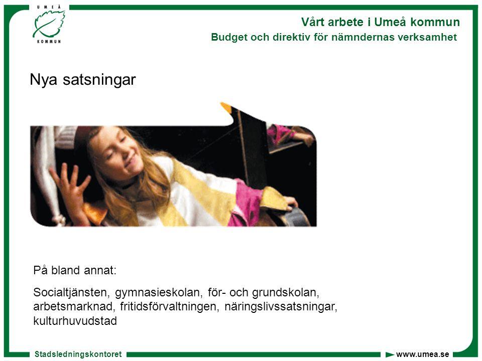 Stadsledningskontoret www.umea.se Vårt arbete i Umeå kommun Budget och direktiv för nämndernas verksamhet Nya satsningar På bland annat: Socialtjänste