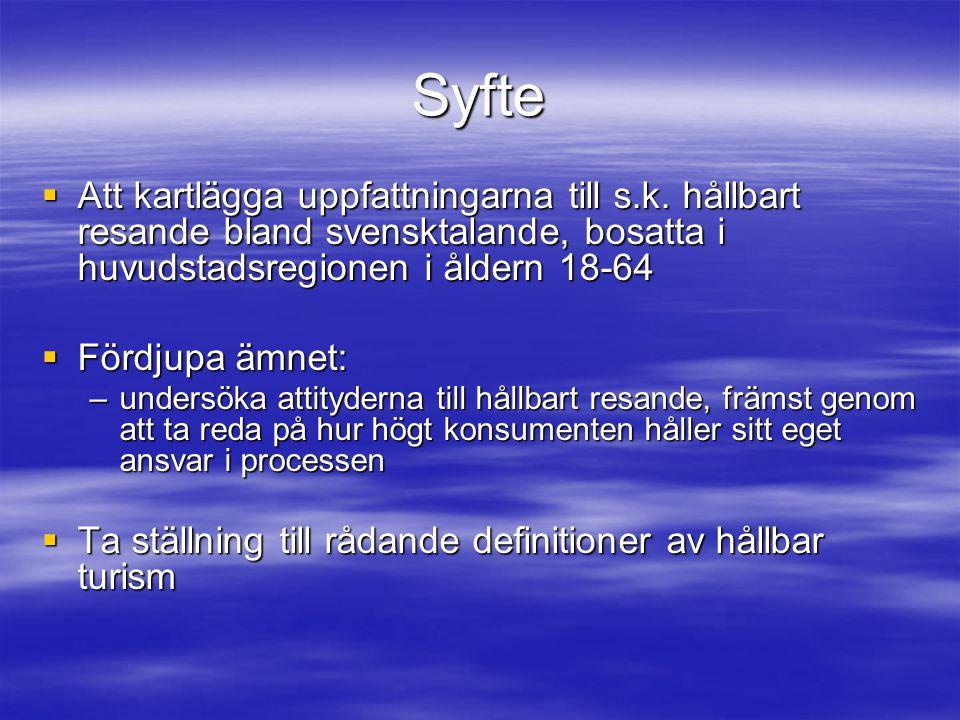 Syfte  Att kartlägga uppfattningarna till s.k. hållbart resande bland svensktalande, bosatta i huvudstadsregionen i åldern 18-64  Fördjupa ämnet: –u
