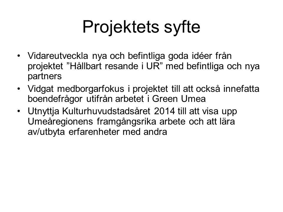 Projektets syfte Vidareutveckla nya och befintliga goda idéer från projektet Hållbart resande i UR med befintliga och nya partners Vidgat medborgarfokus i projektet till att också innefatta boendefrågor utifrån arbetet i Green Umea Utnyttja Kulturhuvudstadsåret 2014 till att visa upp Umeåregionens framgångsrika arbete och att lära av/utbyta erfarenheter med andra