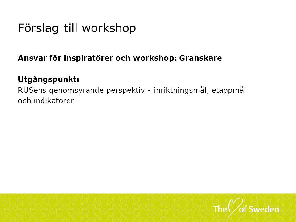 Förslag till workshop Ansvar för inspiratörer och workshop: Granskare Utgångspunkt: RUSens genomsyrande perspektiv - inriktningsmål, etappmål och indikatorer