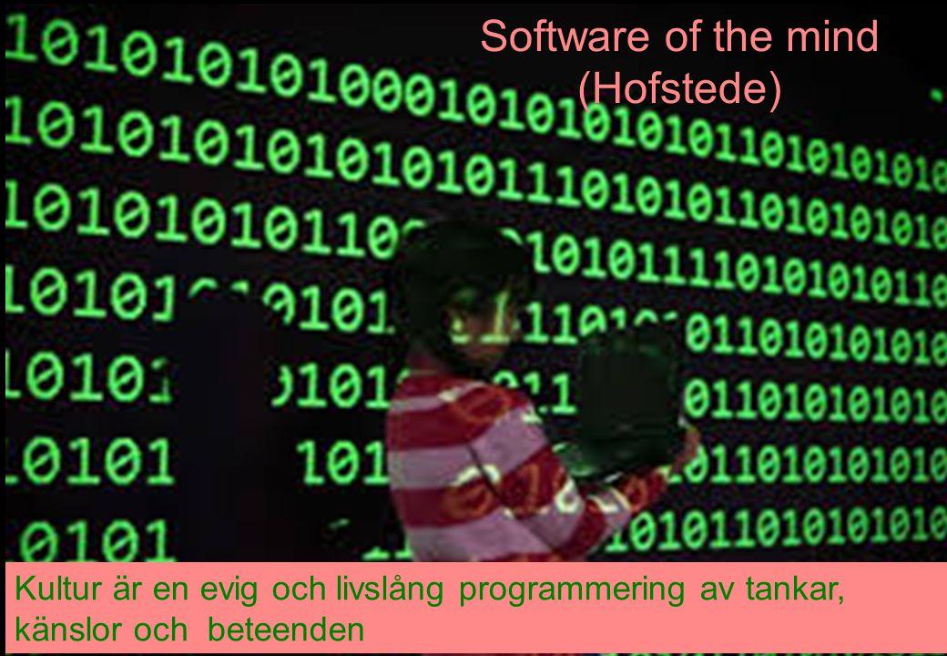 14 Kultur är en evig och livslång programmering av tankar, känslor och beteenden Software of the mind (Hofstede)