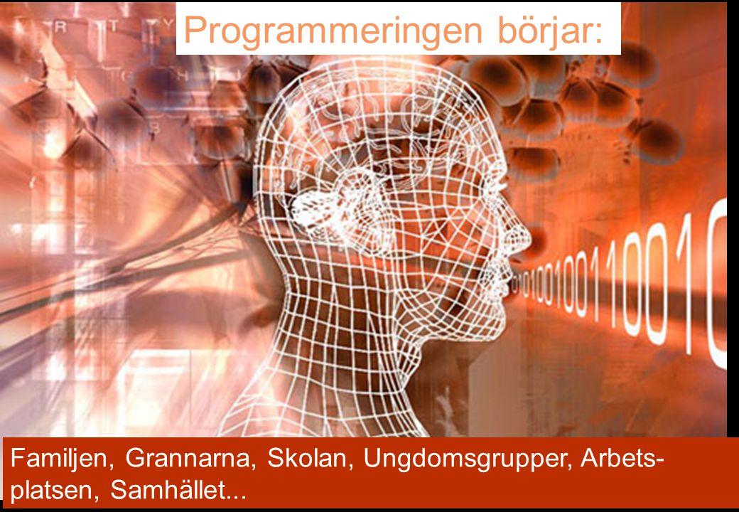 15 Programmeringen börjar: Familjen, Grannarna, Skolan, Ungdomsgrupper, Arbets- platsen, Samhället...
